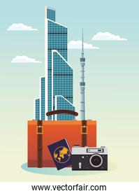 iconic buildings and suitcase with passport and camera, colorful design