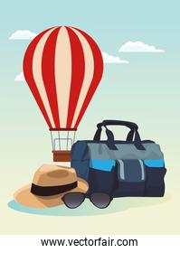 hot air balloon with travel bag and hat, colorful design