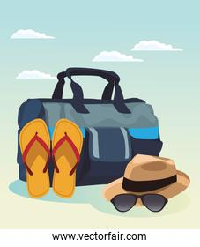 travel bag with sandals and hat with sunglasses, colorful design
