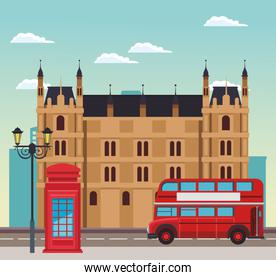 london scenary with building, telephone box and bus over sky background
