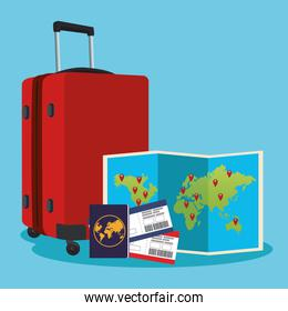 travel suitcase with world map and passport and passboards