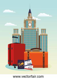iconic city buildings and travel suitcases with passport and passboards over sky background