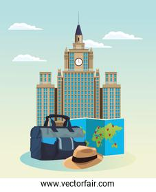 iconic building with travel bag and hat