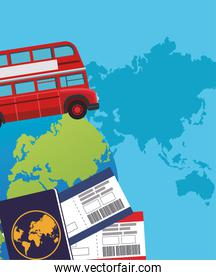 london bus and globe with passport and passboards