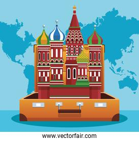 travel suitcase with saint basil cathedral
