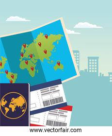 world map with passport and passboards over urban city buildings background