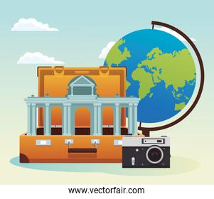 travel suitcase with iconic arch and camera and globe