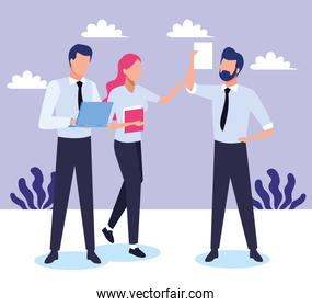 avatar businessmen and businesswoman with document pages