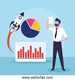 avatar businessman with rocket and graphic pie chart