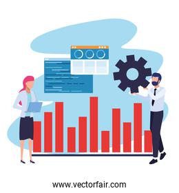 avatar businessman and businesswoman with graphic chart and gear wheel
