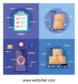 set poster of delivery logistic service