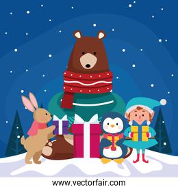 christmas cute animals and elf with gift boxes