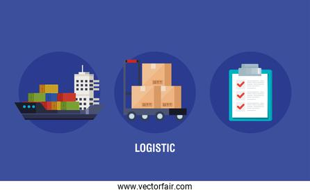 poster of delivery logistic service with icons