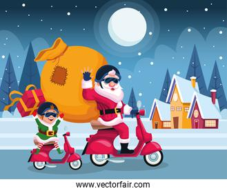 santa claus and elf in motorcycles with bag and gift boxes over houses and winter night background