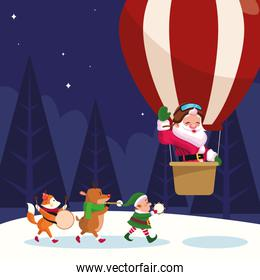 santa claus in a hot air balloon and christmas animals playing musical instruments over winter night background