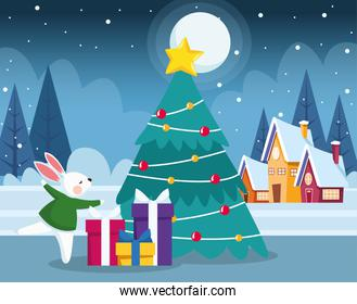 cute bunny and gift boxes around the christmas tree