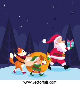 christmas fox with santa claus and santas helper with musical instruments and gift boxes