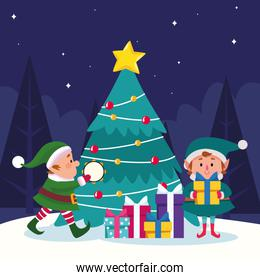 santas helpers with gift boxes and christmas tree