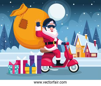 cool santa claus on a motorcycle with big bag over snowy night background