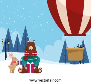 cute rabbit and bear with gift boxes and hot air balloon