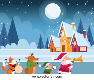 snowy night with houses and santa claus and cute christmas animals playing musical instruments