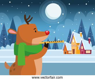 christmas deer playing a flute, colorful design