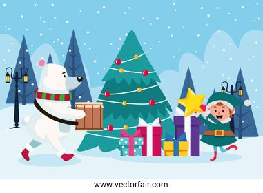 polar bear and santas helper around a christmas tree with gift boxes over winter scenary background