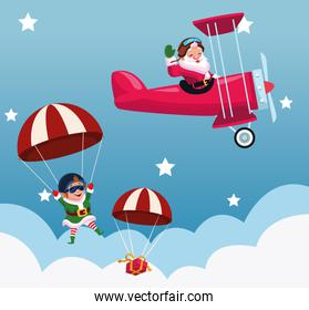 cartoon santa claus flying in a airplane and parachutes with christmas elf and gift box