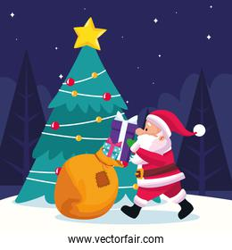 santa claus with gift boxes and christmas tree