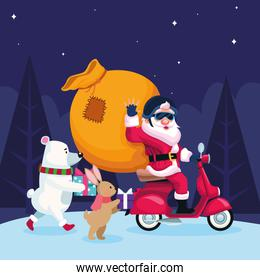 cute christmas animals and santa claus in a motorcycle with big bag over night background