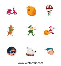 Merry christmas icon set vector design
