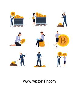 business people and mining bitcoin icon set