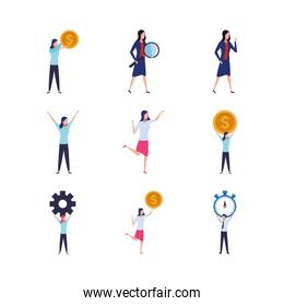 avatar business people doing actions icons set, colorful design