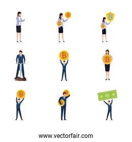 bitcoins and business people icons set