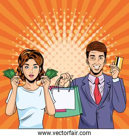 Woman and man with shopping bag retro vector design