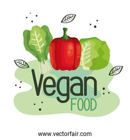 vegan food poster with bell pepper and vegetables