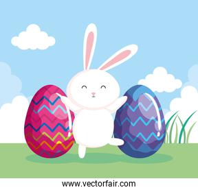 cute rabbit with eggs easter in landscape