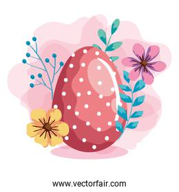 egg easter with flowers and leafs decoration