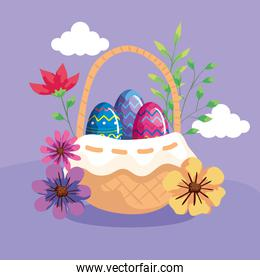 cute eggs in basket wicker with decoration