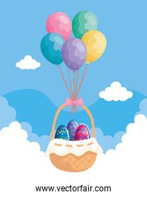 cute eggs in basket wicker with balloons helium