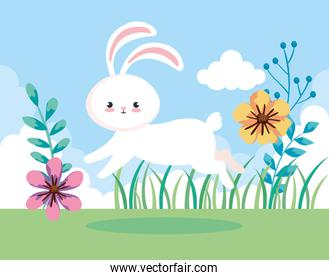 cute rabbit of easter jumping in landscape
