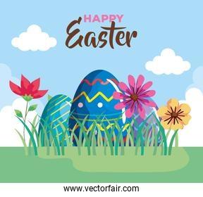 happy easter card with eggs easter in landscape