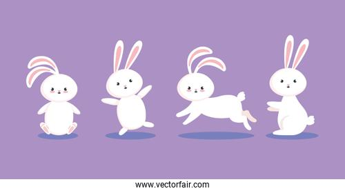 group of cute rabbits icons