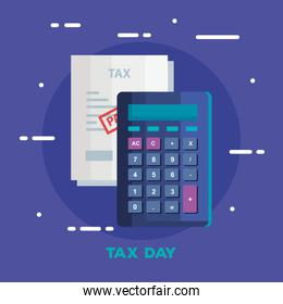 tax day poster with calculator and document