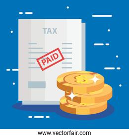 document of tax paid with pile coins
