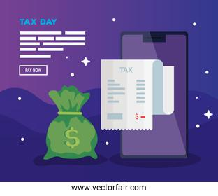 tax day poster with smartphone and icons
