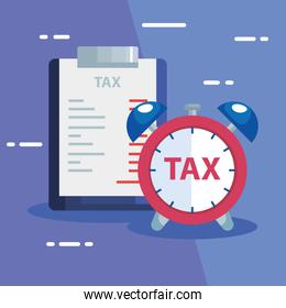 document of tax paid with alarm clock