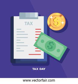 tax day poster with document and cash