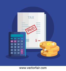 document of tax paid with pile coins and calculator