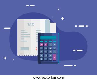 tax day with calculator and voucher paper